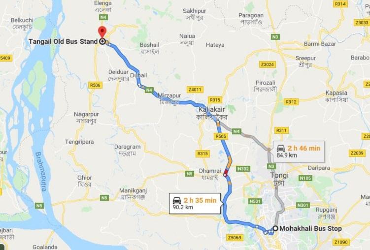 Dhaka To Tangail Train Route Map
