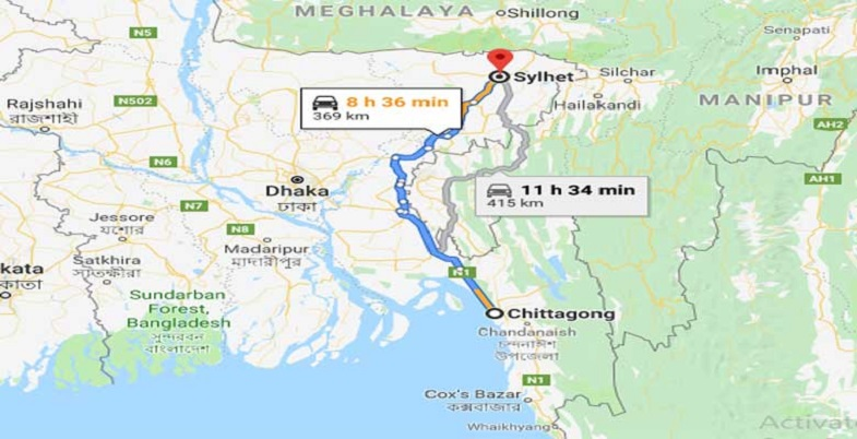 Chittagong To Sylhet Train Route Map