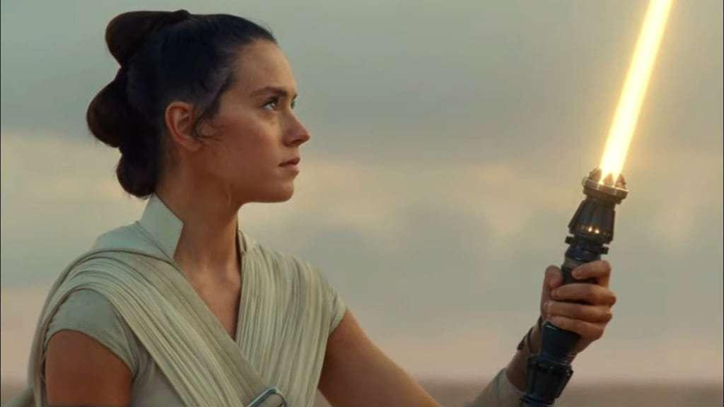 Rey Skywalker with a yellow lightsaber