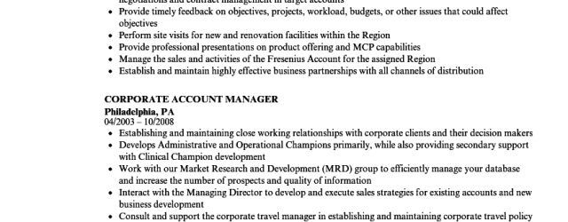 Account Manager Resume Corporate Account Manager Resume Sample account manager resume|wikiresume.com