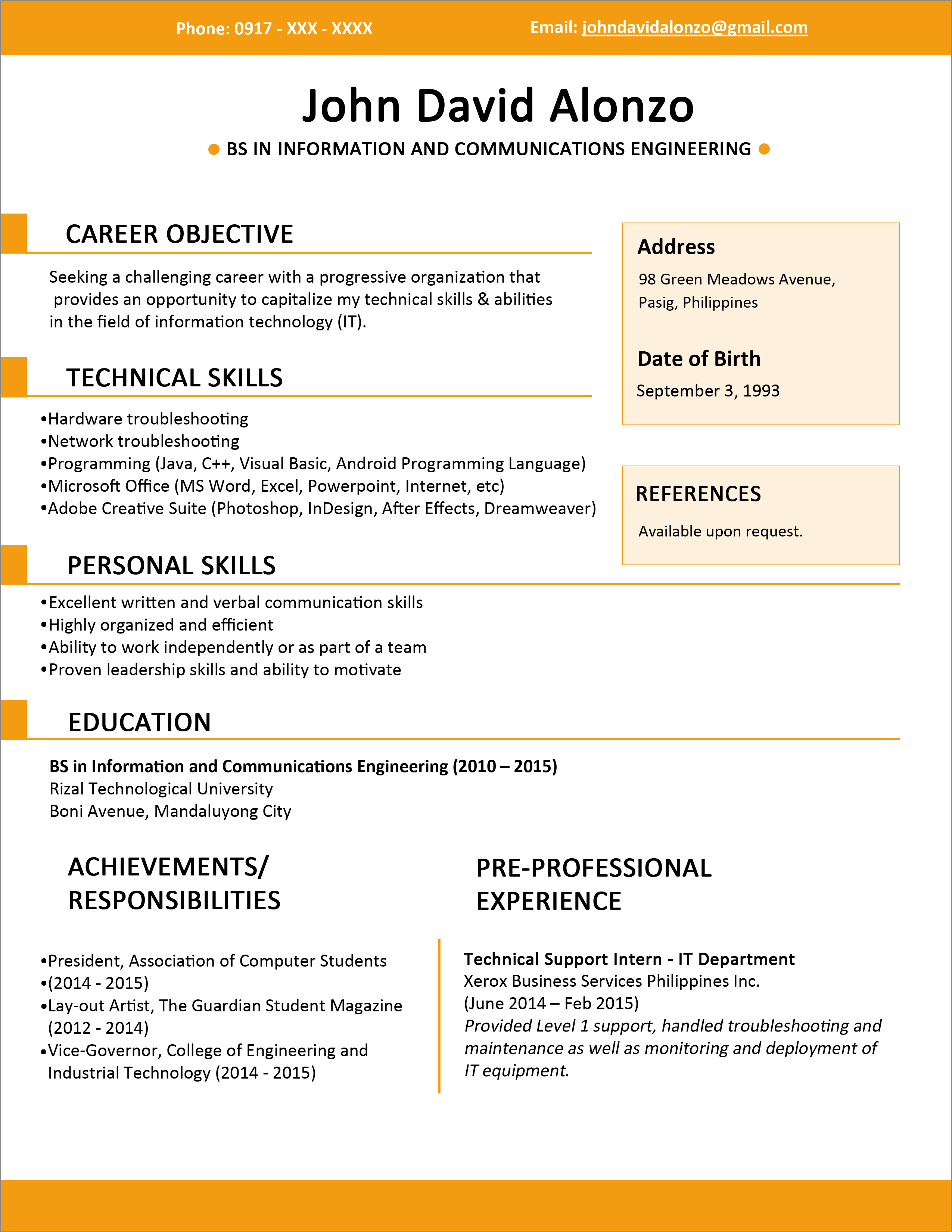 Basic Resume Template Resume Templates You Can Download Jobstreet Philippines