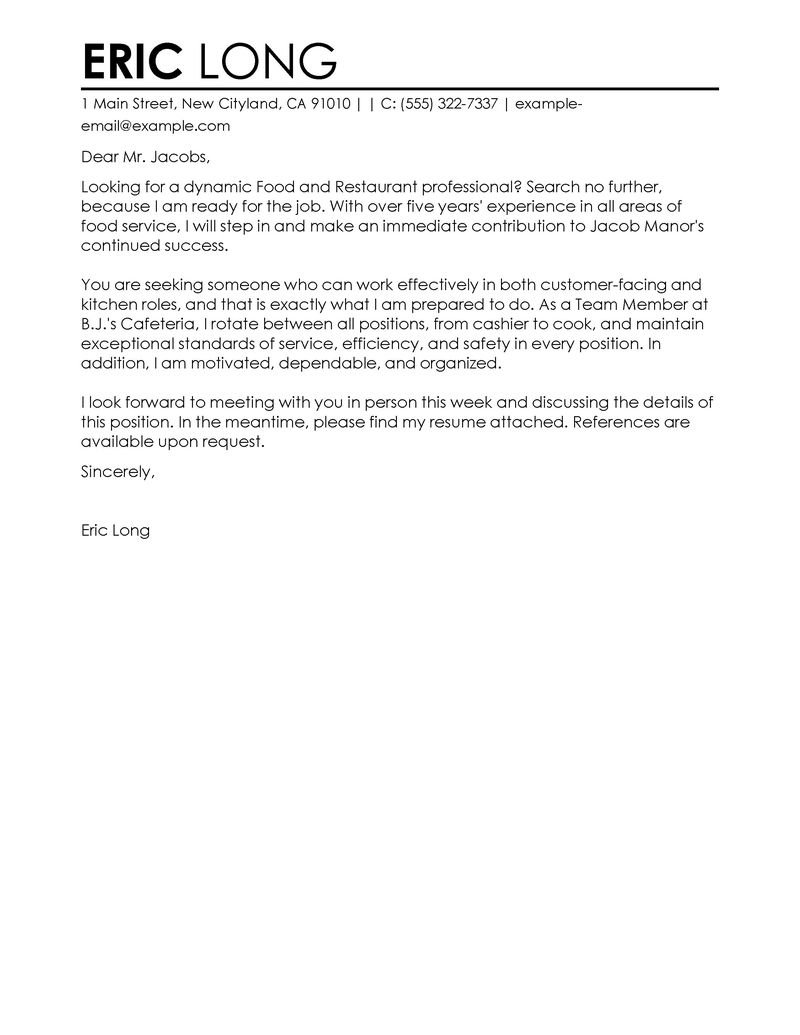Cover Letter Examples Templates Food Restaurant Food Restaurant Contemporary 800x1035 cover letter examples templates|wikiresume.com