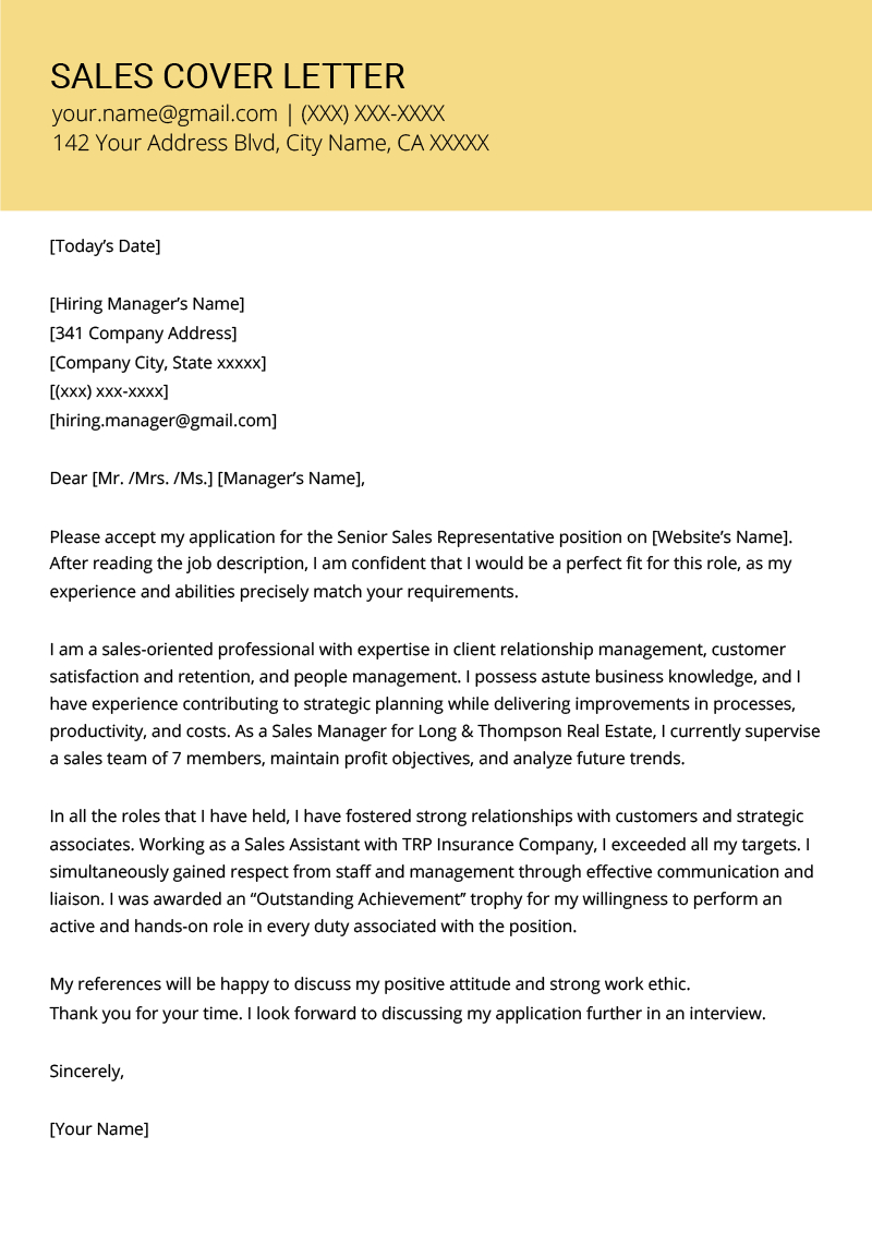 Cover Letters Template  Sales Cover Letter Example Resume Genius