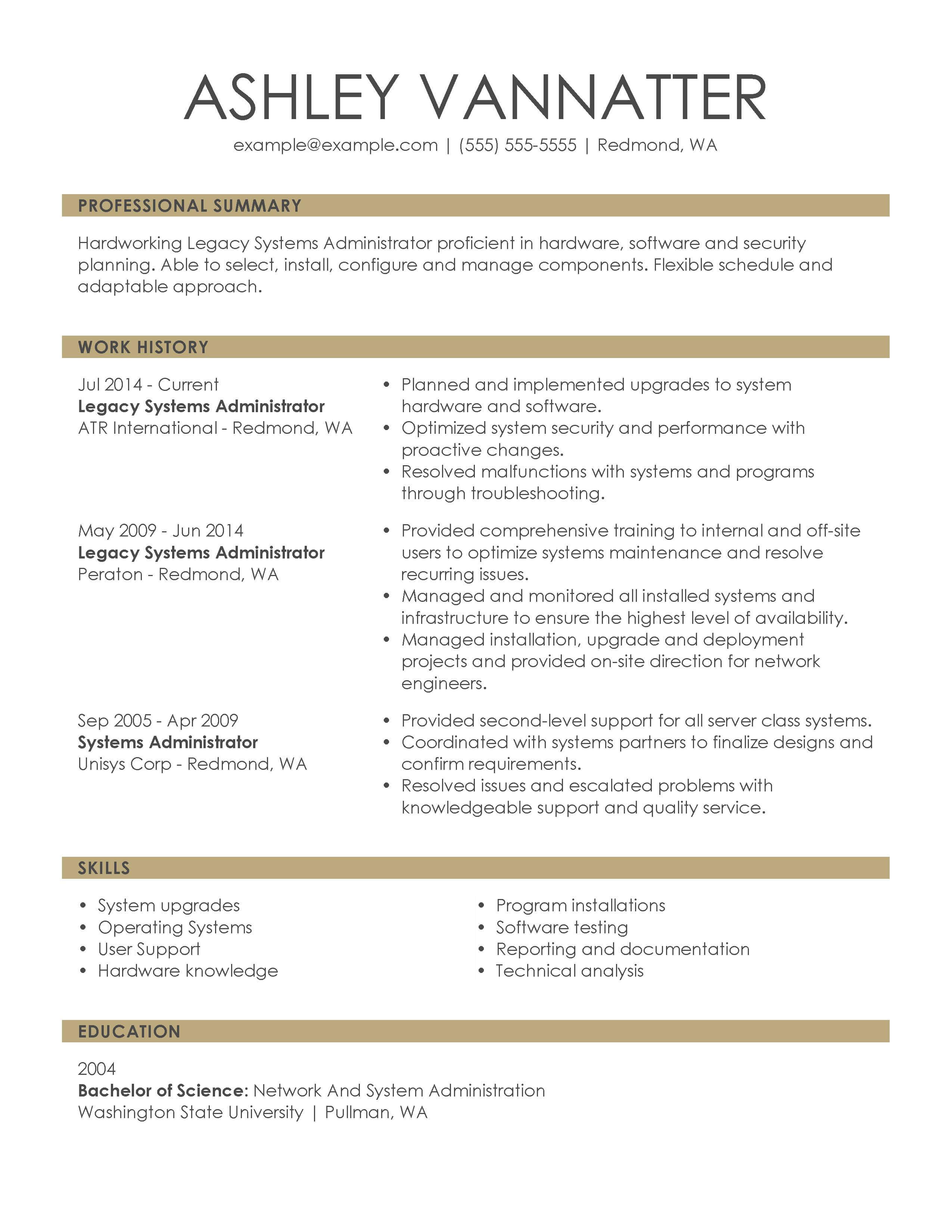 Example Of A Resume Chronological Executive Legacy Systems Administrator example of a resume wikiresume.com