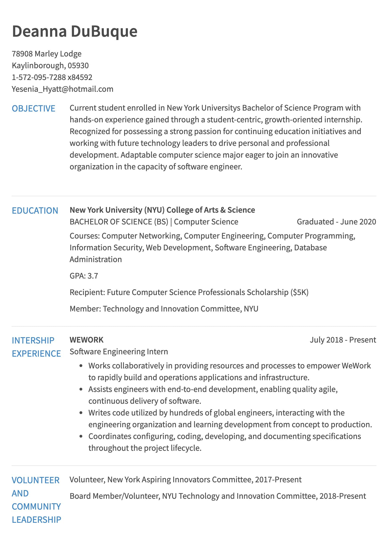Example Of A Resume Internship 0 Years Of Exp example of a resume wikiresume.com