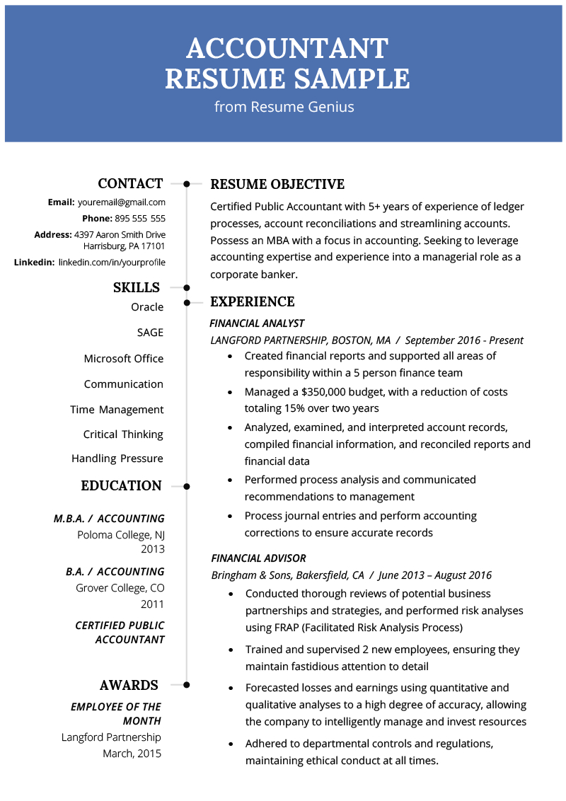 Example Of Resume Accountant Resume Sample And Tips Resume Genius