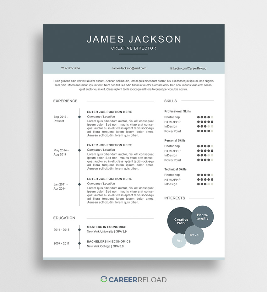 Free Resume Template Resume Template James 01 2 free resume template|wikiresume.com
