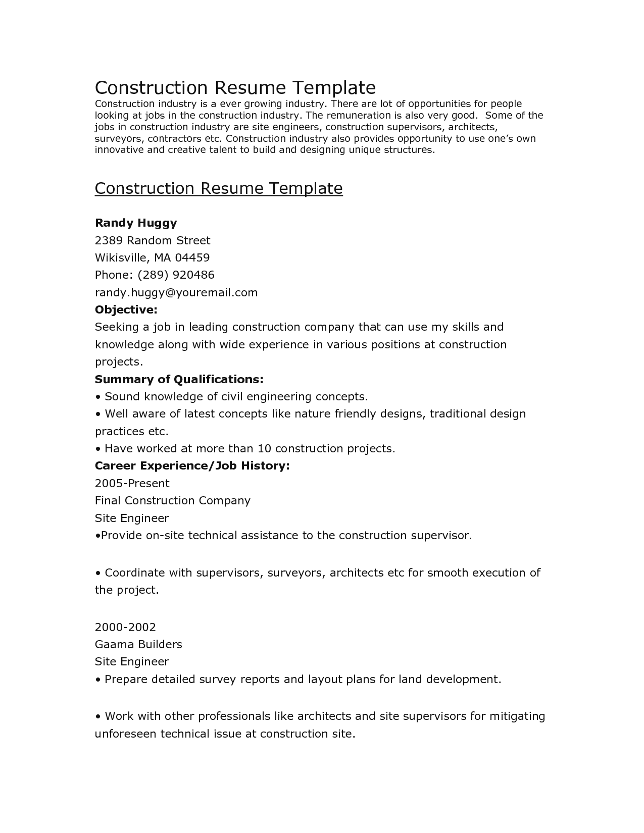 Good Objective For Resume Construction Objective Resume 0 good objective for resume|wikiresume.com