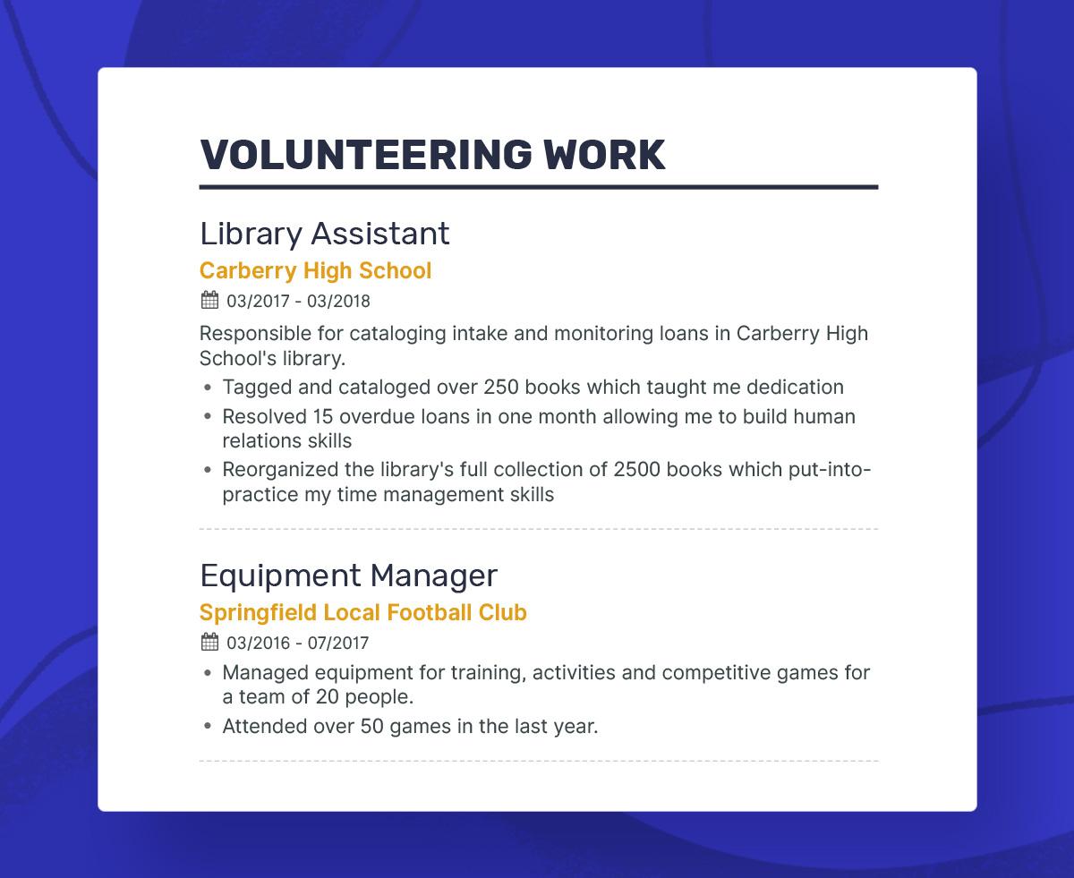 How To Write Resume Volunteeringwork Firstresume how to write resume|wikiresume.com