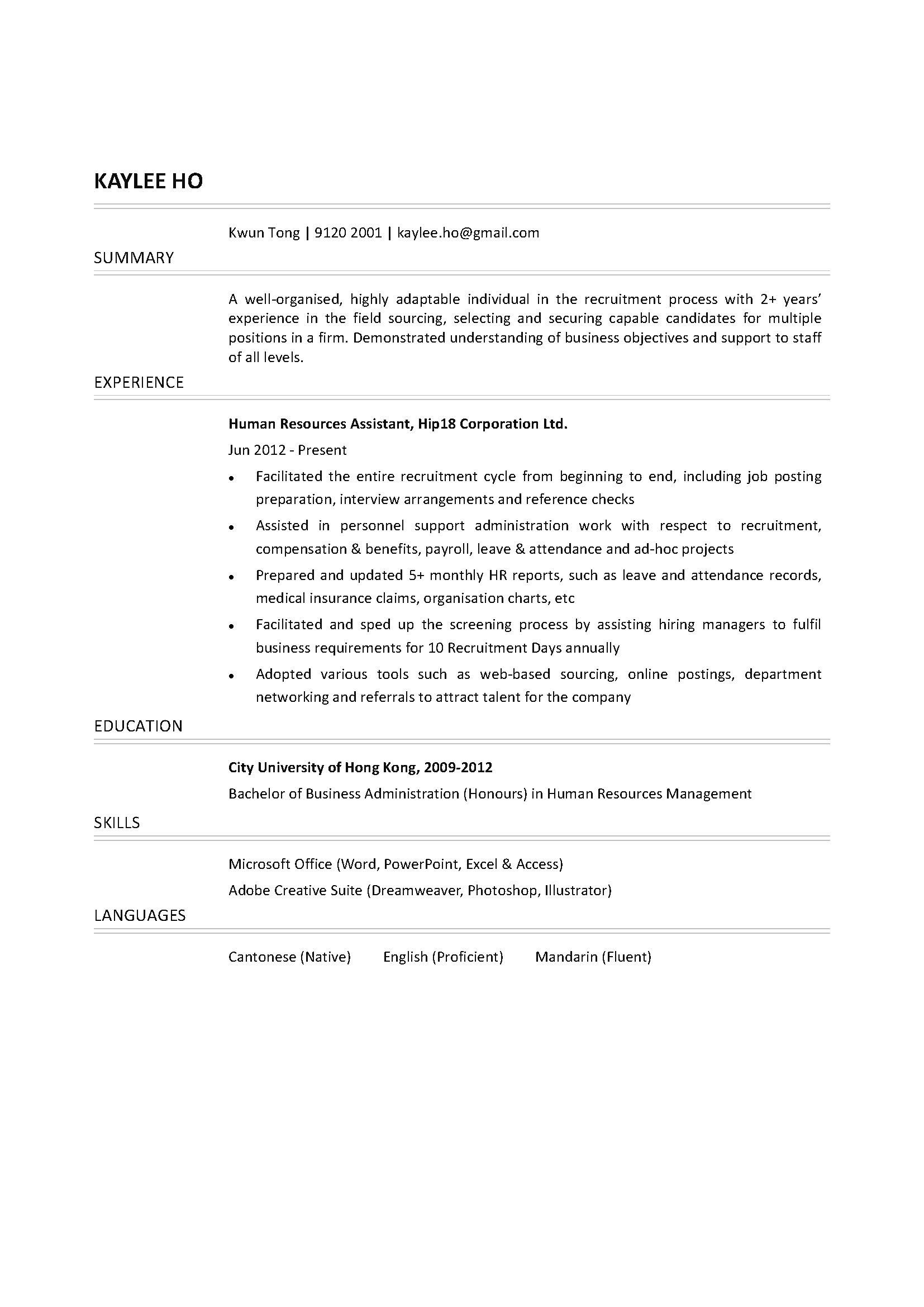 Human Resources Resume 15828 1 human resources resume|wikiresume.com
