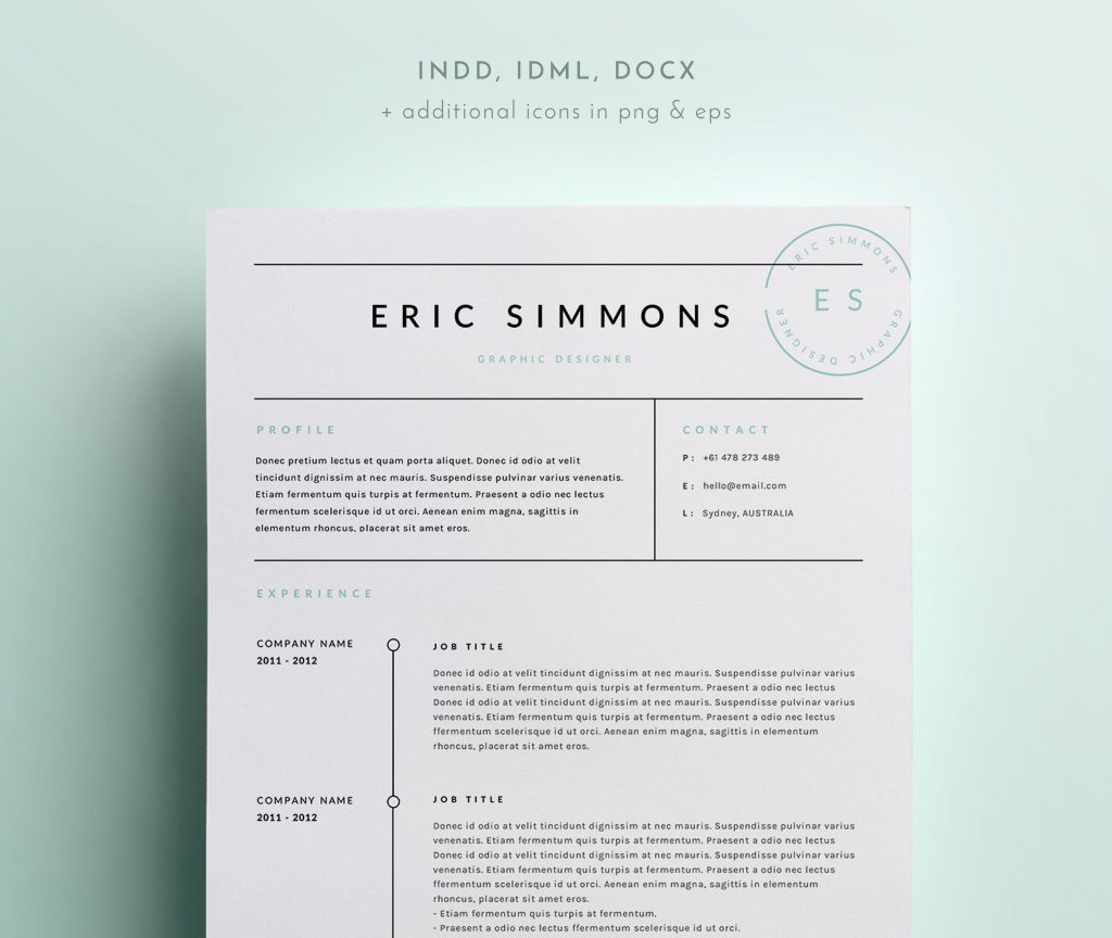 Indesign Resume Template Page Resume Resume Template Indesign Fresh Simple Resume Template indesign resume template|wikiresume.com