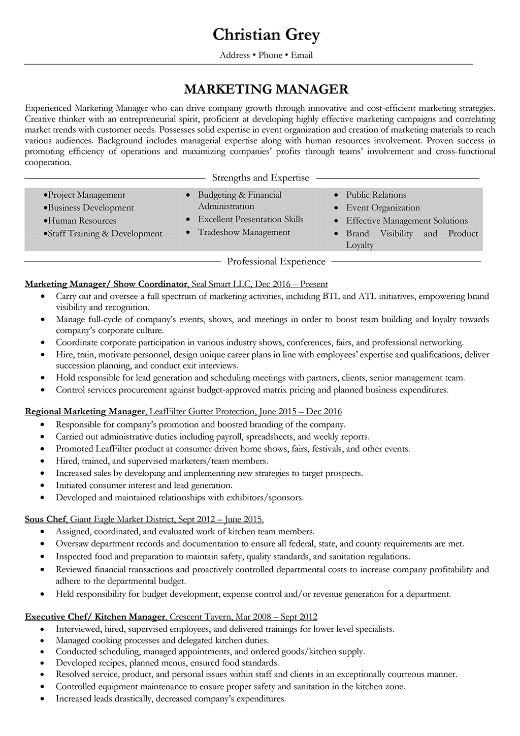 Marketing Resume Examples  Marketing Manager Resume Samples And Writing Guide 10 Examples