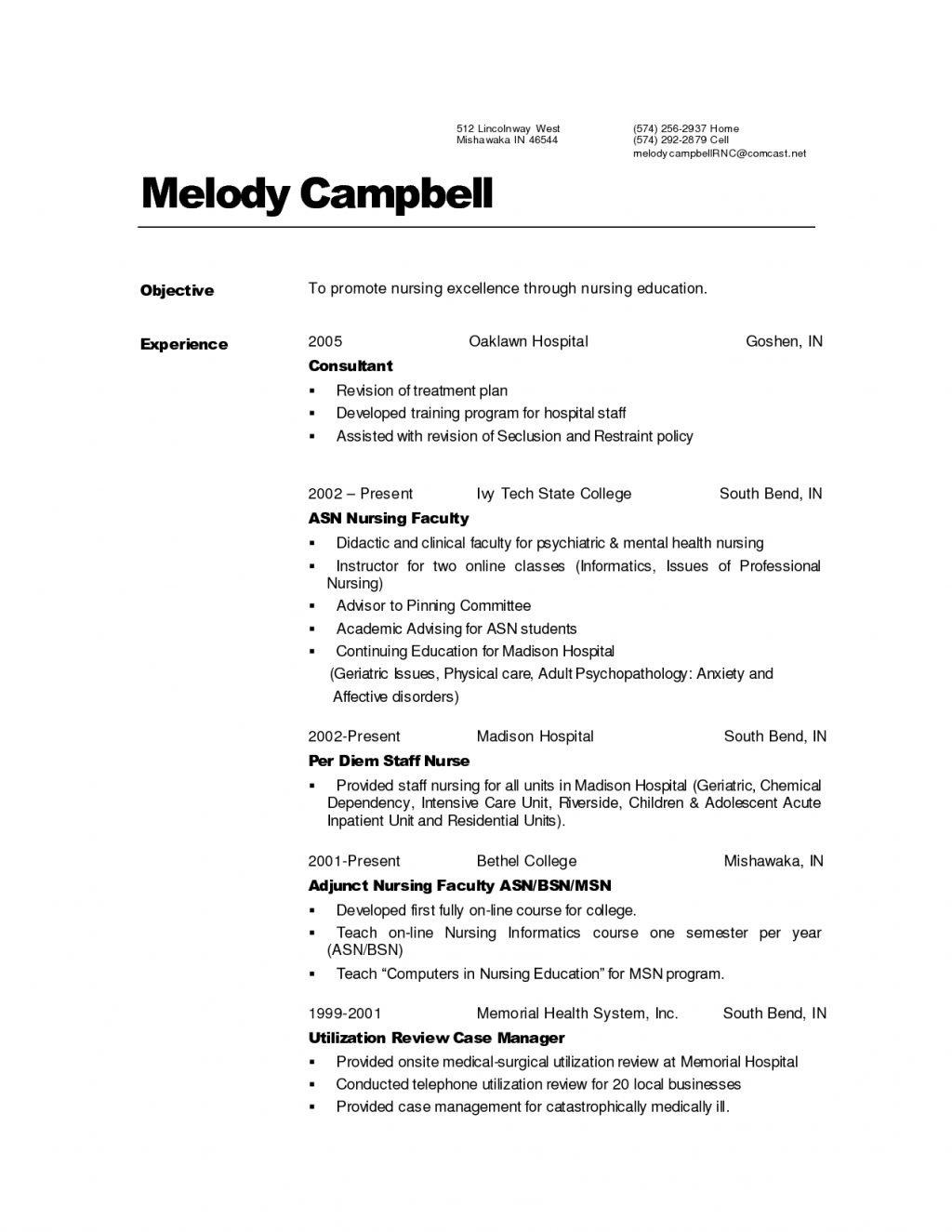 Nurse Resume Templates Med Surg Registered Nurse Resume Sample Example Examples Medical For