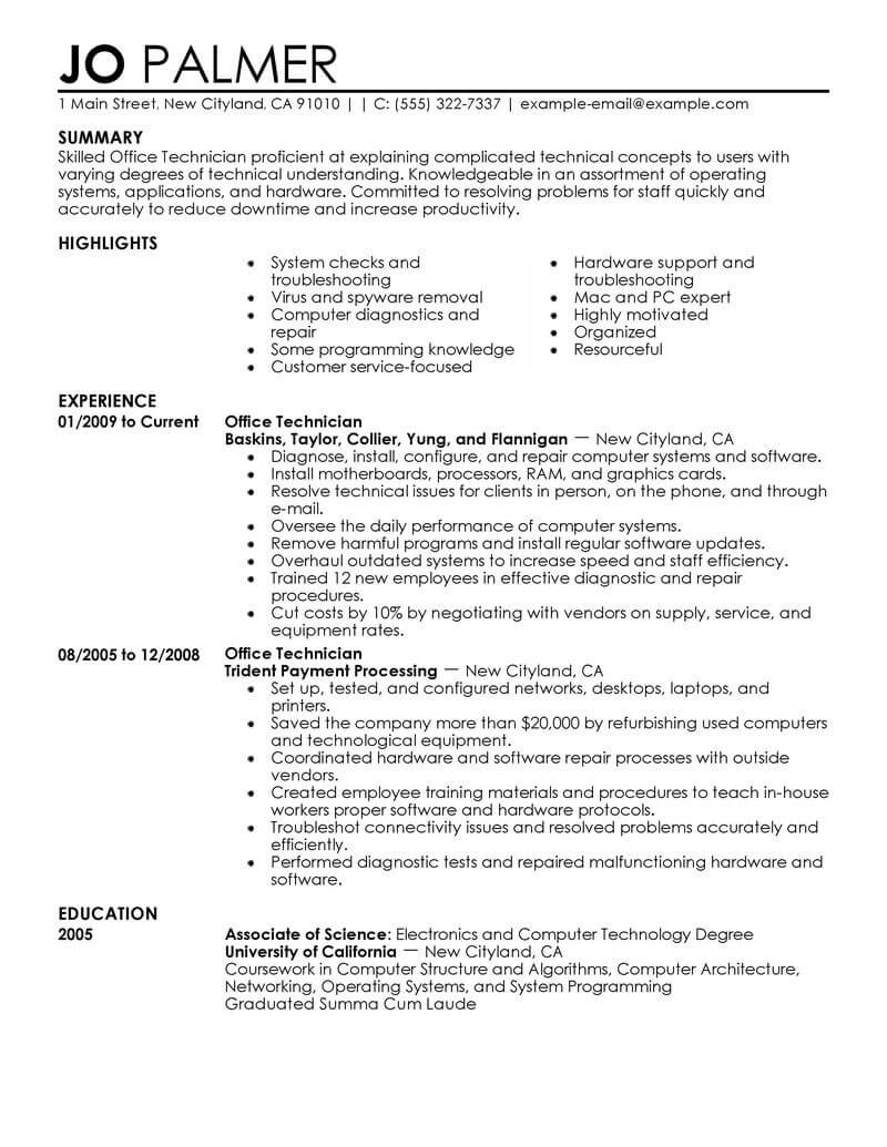 Resume Examples Office  Best Office Technician Resume Example Livecareer