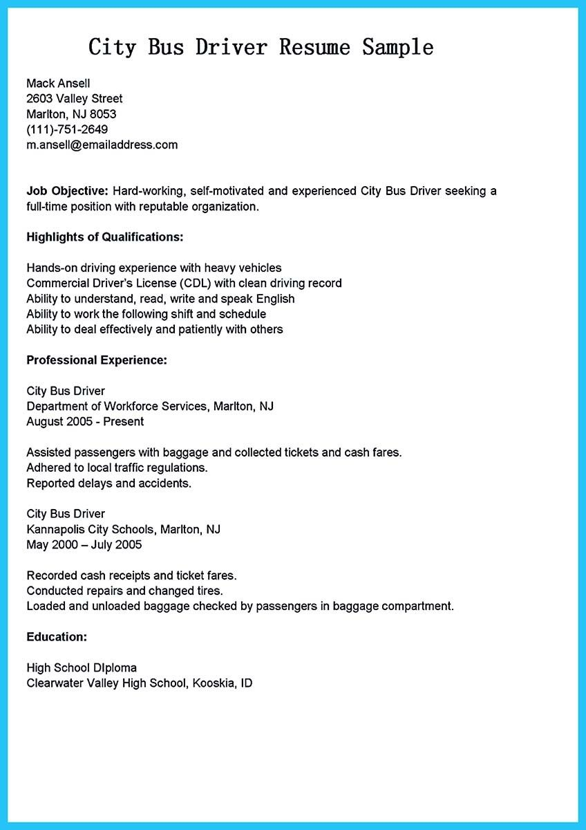 Resume Objective Examples  Delivery Driver Resume Objective Examples Beautiful School Bus