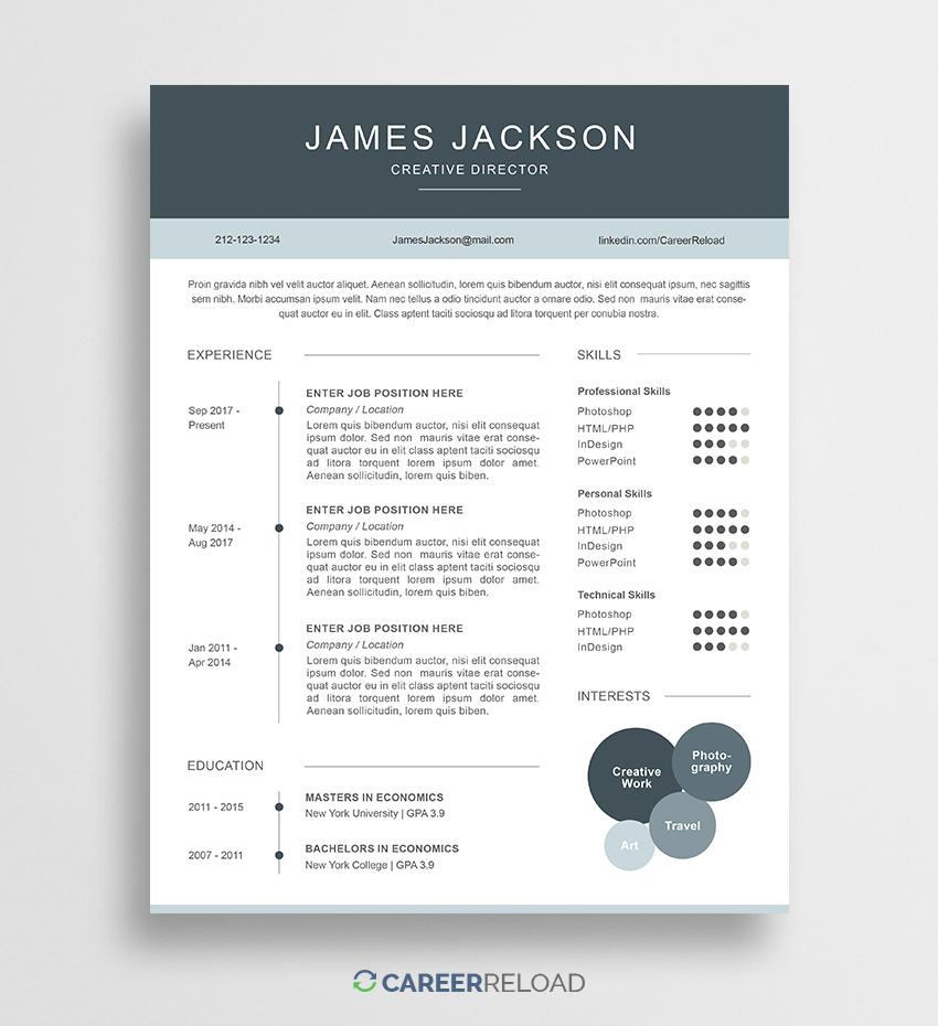 Resume Template Free Resume Template James 01 2 resume template free|wikiresume.com
