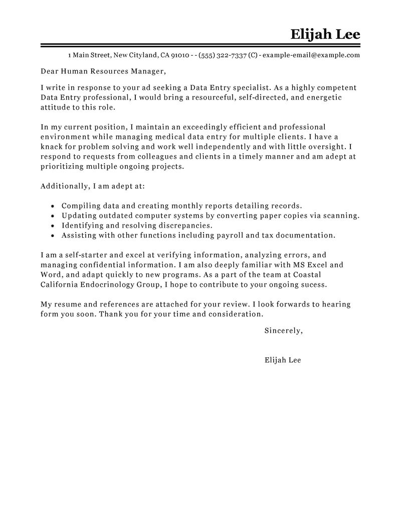 Samples Of Cover Letter  Leading Professional Data Entry Cover Letter Examples Resources