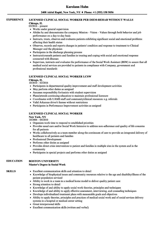 social work resume licensed clinical social worker resume