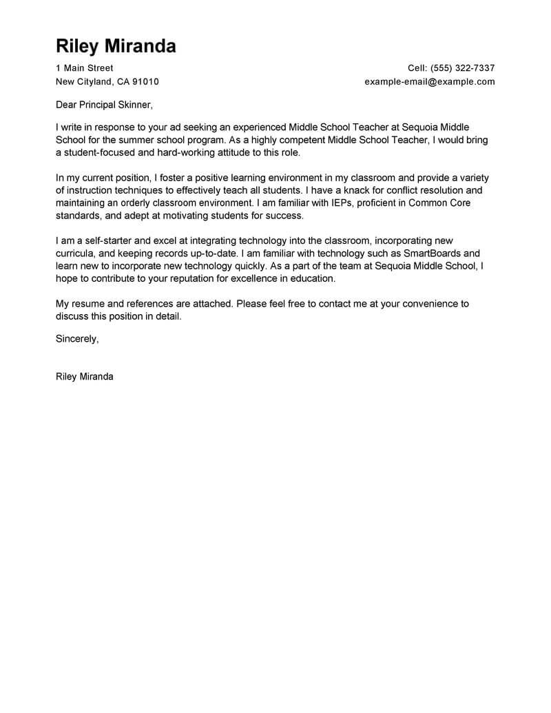 Teacher Cover Letter Elementary Leading Professional Summer Teacher Cover Letter Examples