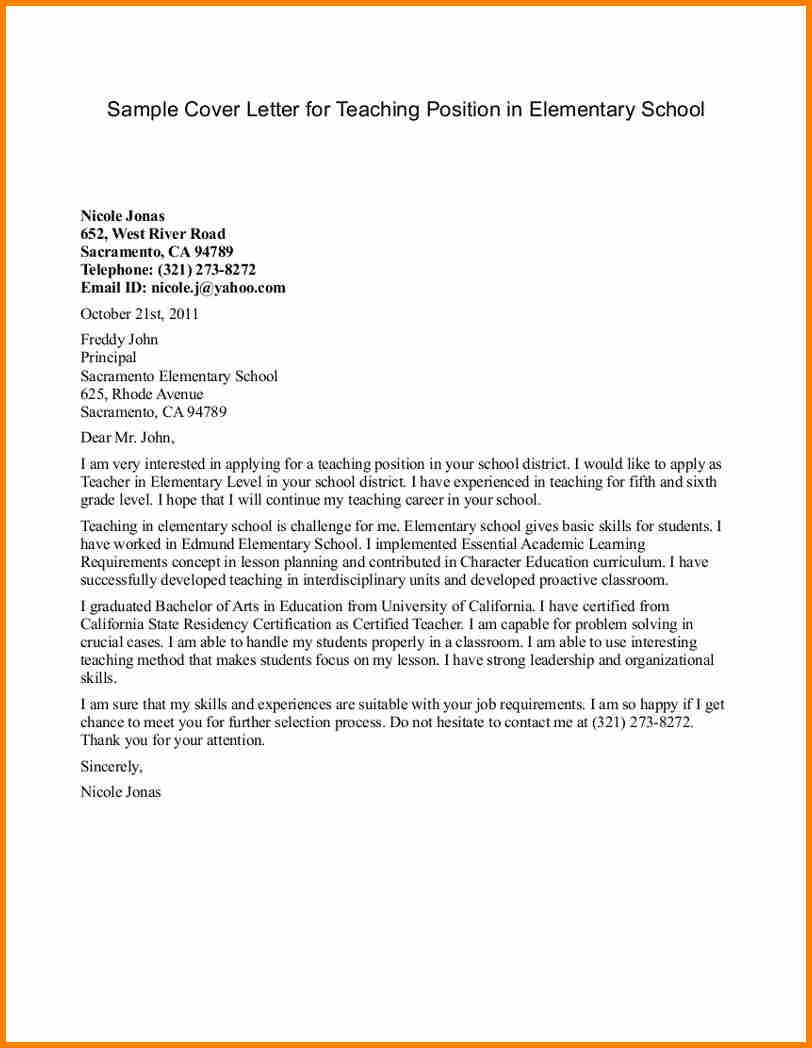Teacher Cover Letter Example 5 Elementary Teaching Cover Letter Penn Working Papers