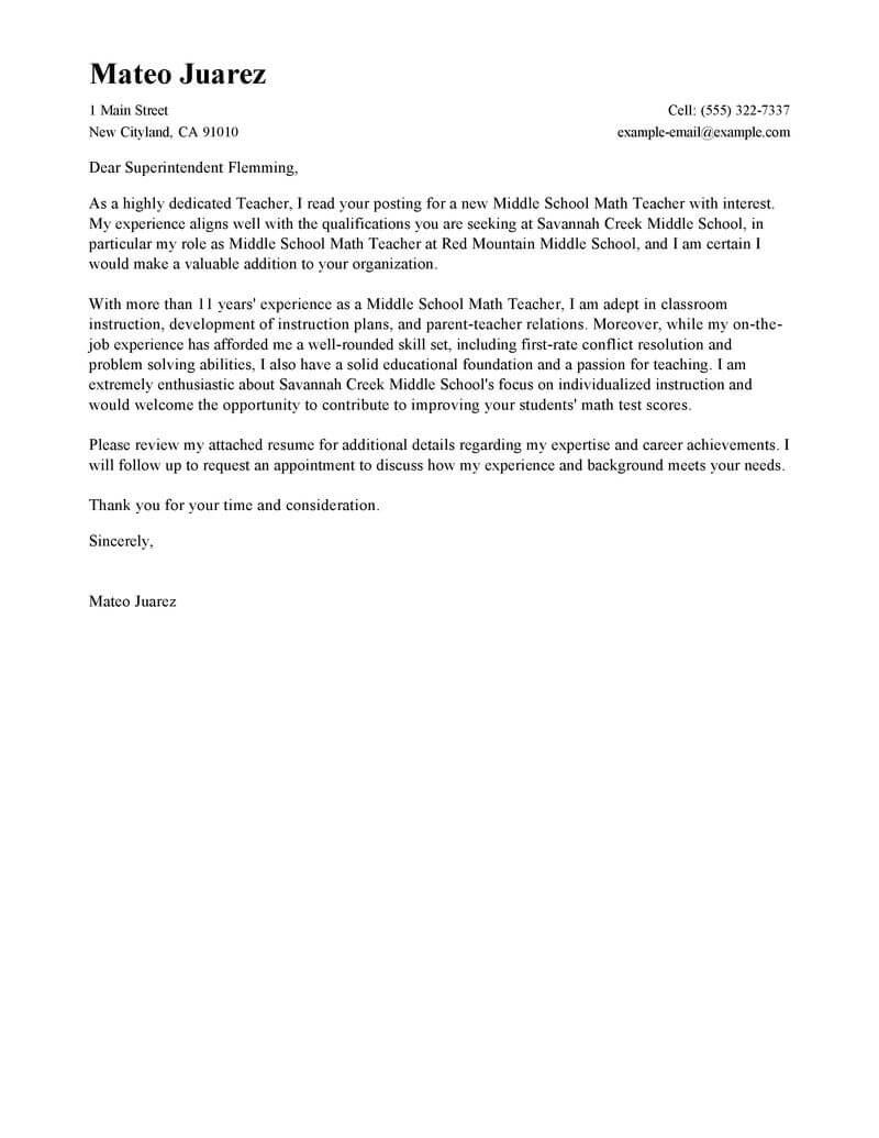 Teacher Cover Letter Example Leading Professional Teacher Cover Letter Examples Resources