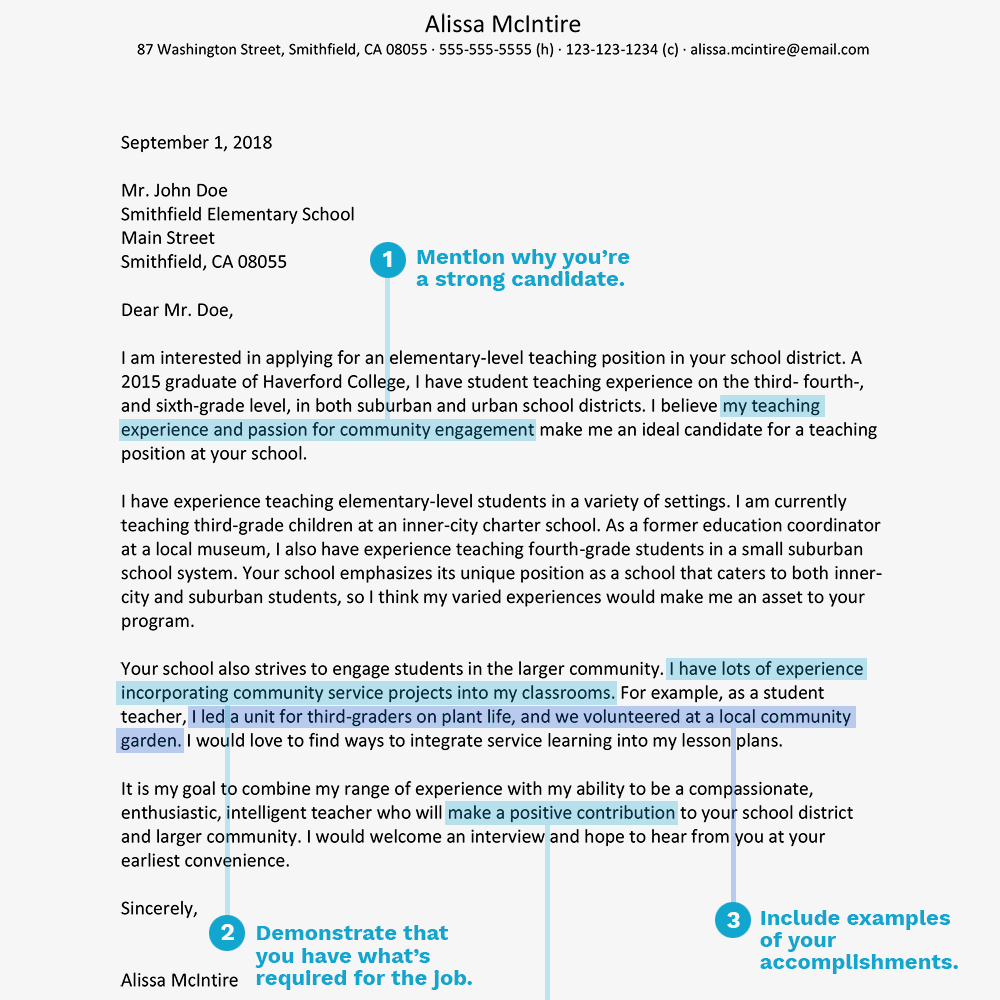 Teaching Cover Letter Examples Teacher Cover Letter Example And Writing Tips