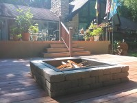Custom Built Deck with Firepit and Rope Lighting