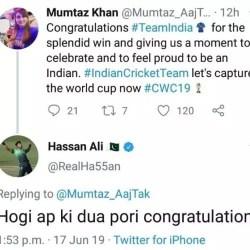 Mumtaz Khan tweet on CWC19