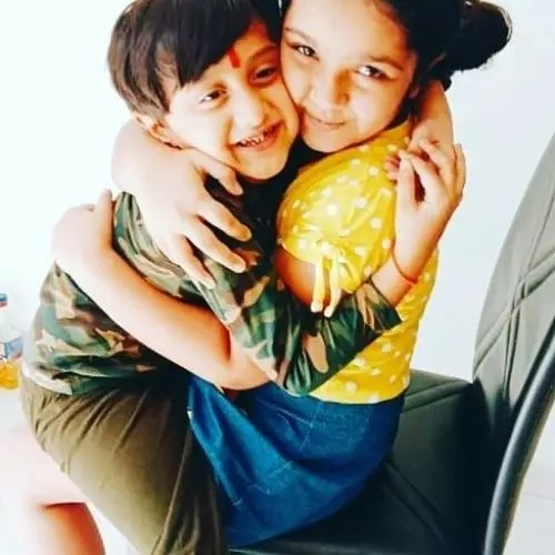 Aditi Jaltare with Brother