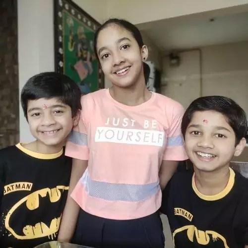 Vedant Sinha with Siblings