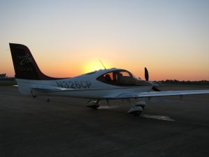 Cirrus Perspective 2008 SR22TN-G3 GTSx in sunrise, photo credit wikiWings.com