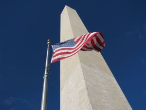 The Washington Monument and Flag of the United States of America, Washington DC, photo credit wikiWings