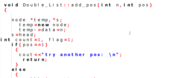 double linked list insert node at middle