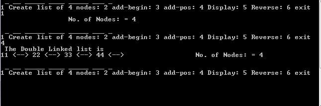 Output of Doubly Linked List C++ Program