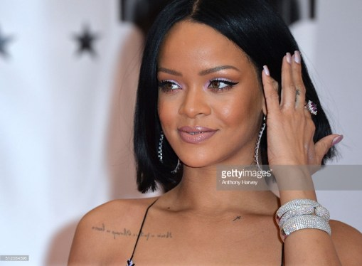 LONDON, ENGLAND - FEBRUARY 24: Rihanna attends the BRIT Awards 2016 at The O2 Arena on February 24, 2016 in London, England. (Photo by Anthony Harvey/Getty Images)