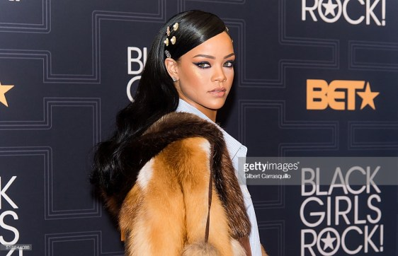 NEWARK, NEW JERSEY - APRIL 01: Singer/songwriter and Rock Star Award recipient Rihanna attends BET Black Girls Rock! 2016 at New Jersey Performing Arts Center on April 1, 2016 in Newark, New Jersey. (Photo by Gilbert Carrasquillo/FilmMagic)