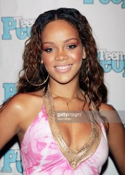 WEST HOLLYWOOD, CA - JULY 14: Roc-A-Fella recording artist Rihanna is featured at the Teen People Listening Lounge hosted by Jay-Z at the Key Club on July 14, 2005 in West Hollywood, California. (Photo by Kevin Winter/Getty Images)