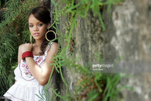 ST. MICHAEL, BARBADOS - APRIL 22: Rihanna poses for a portrait before a party to celebrate the release of her new album 'A Girl Like Me' on April 22, 2006 in her hometown of St. Michael, Barbados. (Photo by Scott Gries/Getty Images)