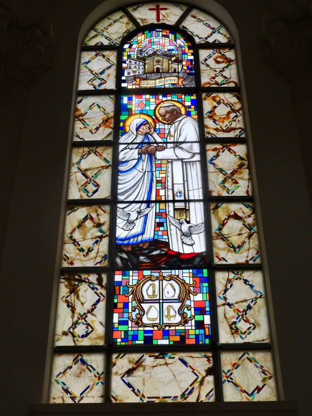 Stained Glass Window, Mother Teresa & Pope John Paul II, Pristina