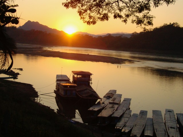 Sunset over the Mekong River, Luang Prabang, Laos