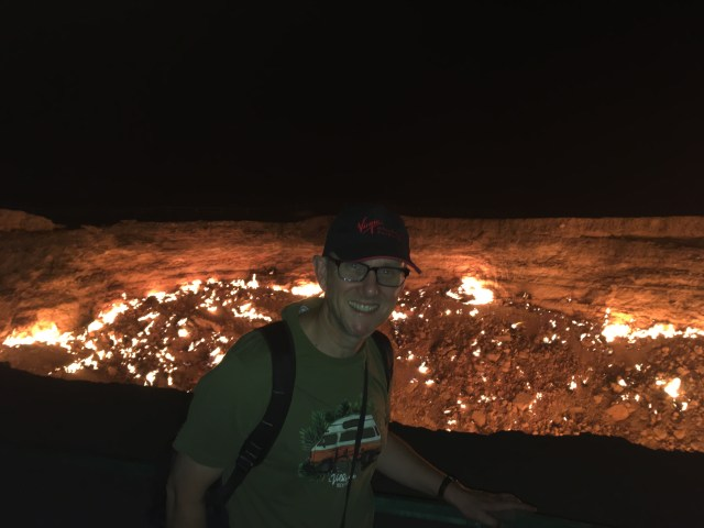 Wilbur at the Darvaza Gas Crater, Turkmenistan
