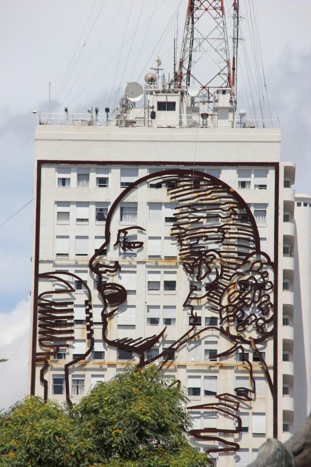 Giant portrait of Eva Perón on the building of the Ministerio del Trabajo