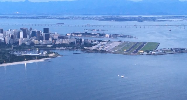 View from Sugarloaf Mountain of the Rio–Niterói Bridge and Rio de Janeiro Santos Dumont Airport
