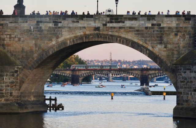 Looking Through Charles Bridge To Legion Bridge, Prague