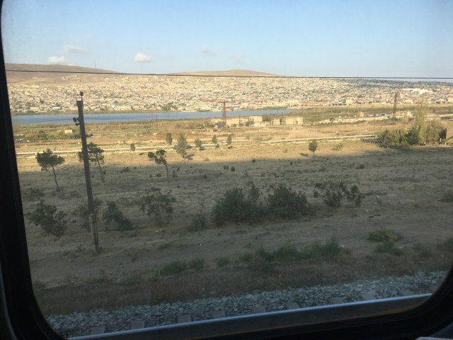 Gobustan Desert from the train, Azerbaijan