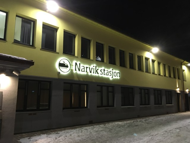 Narvik Train Station in Norway at Night