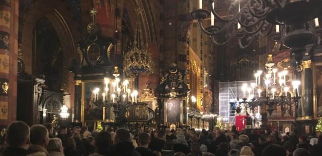 Midnight Mass, St Mary's Basilica, Krakow, Poland