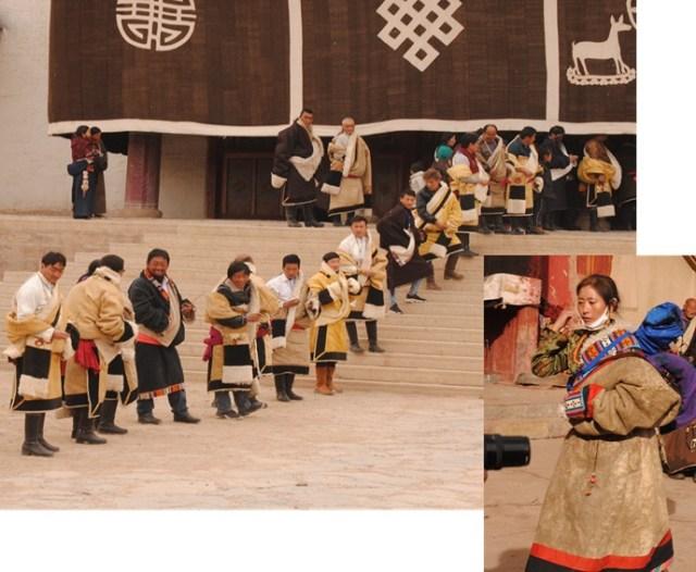 Tibetans in their Chubas (sheepskin coats)
