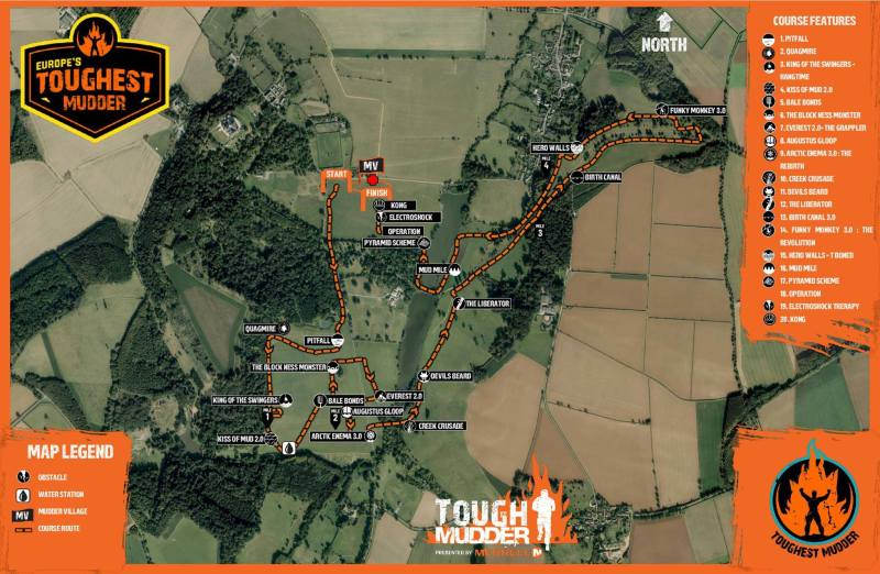 Europe's Toughest Mudder Map
