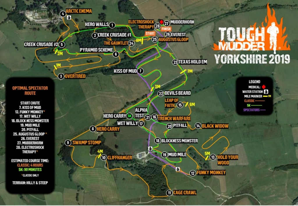Tough Mudder Yorkshire course Map